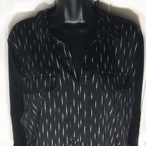 Kensie Black Collared with White Pattern Blouse